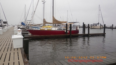 SV Changes docked at Oriental Harbor Marine with water staring to recede.