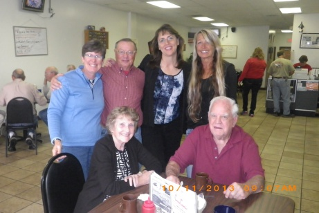 Lorraine, Phil, Karen and Diane standing, Beverly and Tom Love at Kountry Kitchen