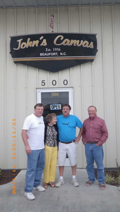 David, Beverly, Marty Love and Phil in front of their canvas shop