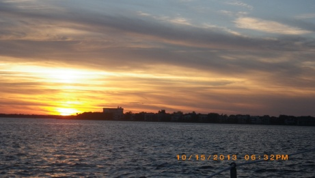 Sunset coming into Charleston Harbor