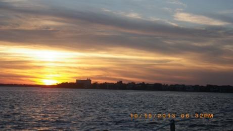 Sunset coming into Charleston Harbor