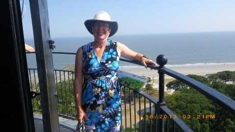 Lorraine at top of Hunting Is. Lighthouse