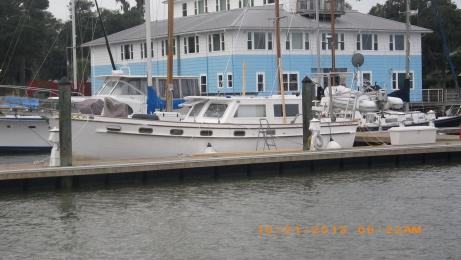 Dockmaster's boat at Lady's Island Marina.