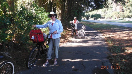 Lorraine and Judy Long biking on Hilton Head Island