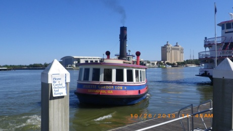 Ferry in Savannah that transports you along the city riverfront for free.