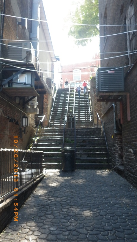 Steps up,to Bay St from Riverfront.  These are very steep and tall.  Really an effort to climb them!