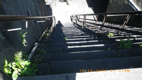 These are the same steps looking down.