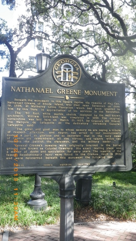 Sign about Nathaniel Green for his Square