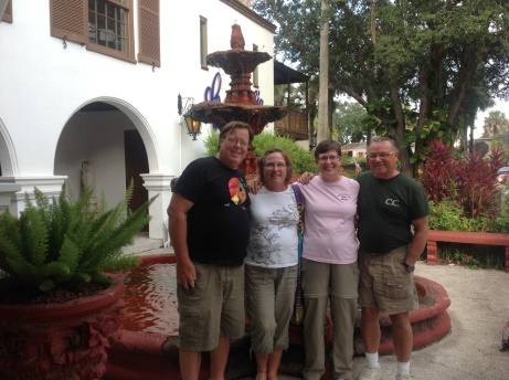 Karl and Jan, Lorraine and Phil in front of Columbia's Restaurant in St. Augustine, FL