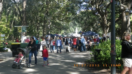 In Forsyth park for the Jewish food Festival.