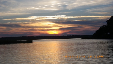 Sunset in Turner Creek close to Savannah.