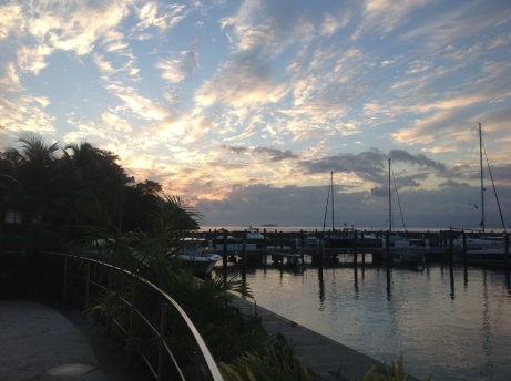 Sunset from dock at Marina Puerto Bahia