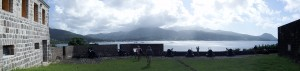 Panoramic view of the fort cannon and the harbor of Portsmouth, Dominica.