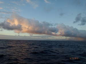 Sunrise March 19 on passage to Samana, DR.