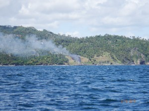 Grass Fire on point coming into Samana