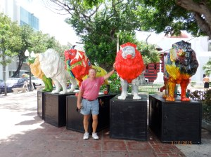 Phil and painted Lions in the Square historic district of Ponce, PR