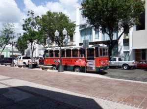 Trolly in Ponce, PR gives tours of Historic District for $2 per person